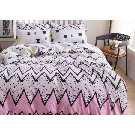 Single Size 2pcs Pink with Cute Black Pattern Quilt Cover Set