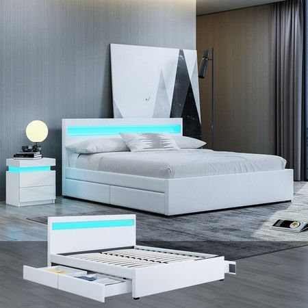 New Queen Size PU Leather Bed Frame with 4 Drawers LED Lights White