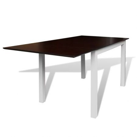 Extending Dining Table Rubberwood Brown and White 150 cm