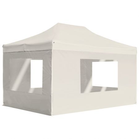 Professional Folding Party Tent with Walls Aluminium 4.5x3 m Cream