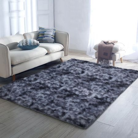 Artiss Gradient Shaggy Rug 160x230cm Carpet Area Rugs Dark Grey