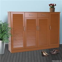 Beau Extra Large Brown Wooden Shoe Cabinet 40 Pairs