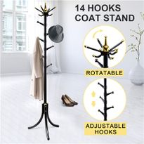 14 Hooks Tree Style Metal Coat Rack For Hats, Bags, Clothes   Black