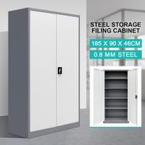 Filing Cabinet Steel Lockable Storage Cupboard W/4 Adjustable Shelves    Dark Grey And White