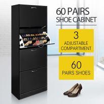 60 Pair Shoe Cabinet 4 Rack Wooden Home Footwear Storage Stand   Black