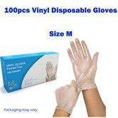 100Pcs 50PAIRS Disposable Clear Vinyl Gloves Powder Free Gloves Size M