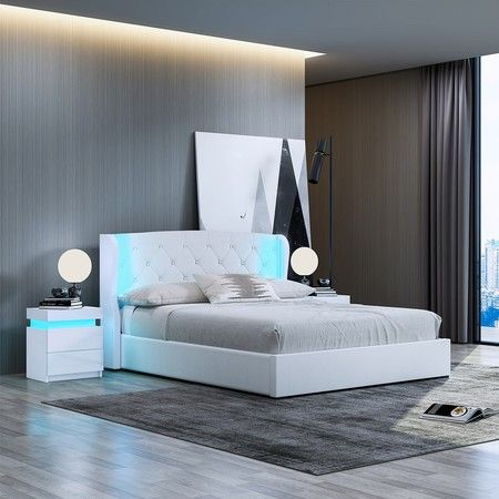 Double PU Leather Gas Lift Storage Bed Frame Wood Bedroom Furniture with LED Lights White