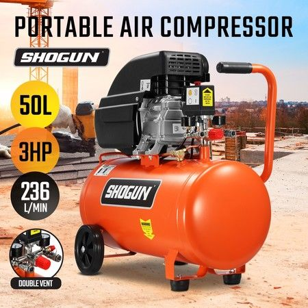 Portable 50L 3HP Electric Air Compressor Tank Direct Drive Pump Inflator
