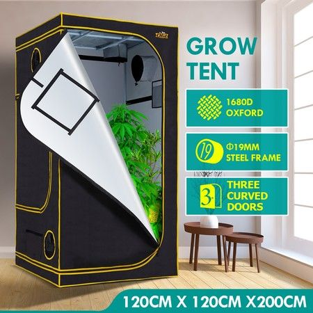 120x120x200cm Hydroponic Grow Tent Reflective 1680D Oxford w/ Observation Window and Floor Tray