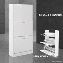 Wooden Shoe Storage Cabinet   3 Racks, White Part 80