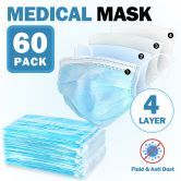 60 Pcs 4 Layers Disposable Face Mask Medical Earloop Mask 4-Ply Soft Breathable Dust Filter Mask