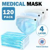 120 Pcs 4 Layers Disposable Face Mask Medical Earloop Mask 4-Ply Soft Breathable Dust Filter Mask