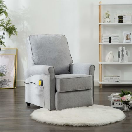 Massage Recliner Light Grey Fabric