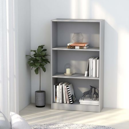 3-Tier Book Cabinet Grey 60x24x108 cm Chipboard