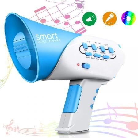 Voice Changer Kids Multi Voice Changer with 7 Different Voice Modifiers, for Boys and Girls, Parties- Col Blue
