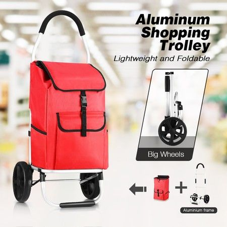 Foldable Aluminium Shopping Cart Trolley Bag Dolly w/ Wheels Red