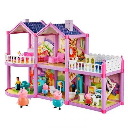 Home Feature Playset Pig Castle Family Full Roles Action Figure Model Educational Children Gifts
