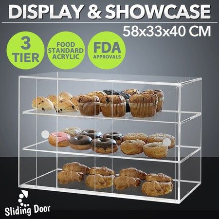 New 3-Tier Large Acrylic Bakery Cake Display Cabinet Donuts Cupcake Pastries 5mm Thick