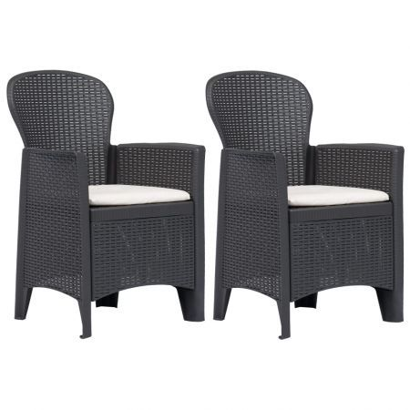 Garden Chair 2 pcs with Cushion Brown Plastic Rattan Look