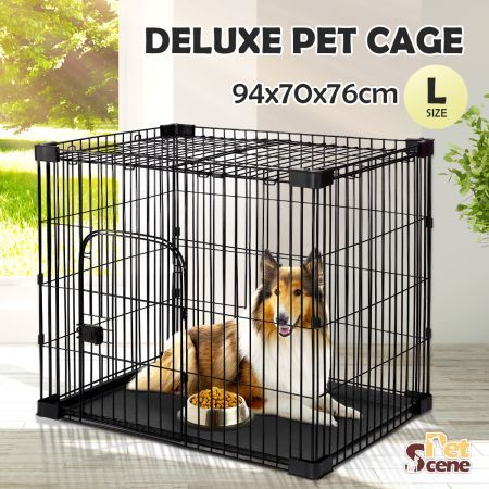 Petscene L Size Wire Dog Cat Cage Crate Pet Enclosure 940x700x760mm