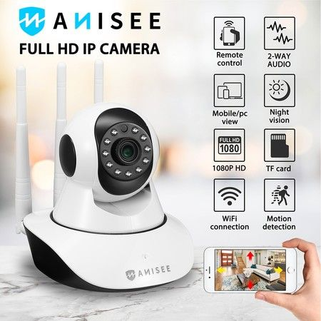 1080P WiFi PTZ IP Camera for Home Security Surveillance System w/ Motion Detection Remote Access 128GB