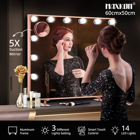 Maxkon 14 LED Lights Hollywood Style Makeup Mirror Touch Control Vanity Mirror Rose Gold
