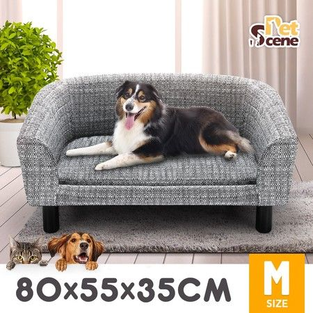Petscene M Size Linen Fabric Dog Bed Pet Cat Sofa Couch Soft Lounge Wood Frame