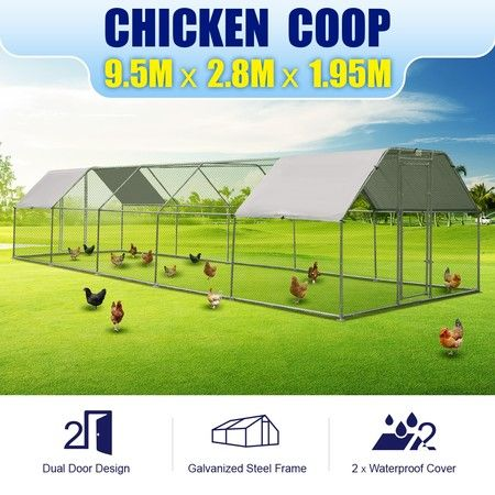 9.5m x 2.8m Extra Large Metal Chicken Coop Walk-in Chicken Cage Shade House Pen w/Covers