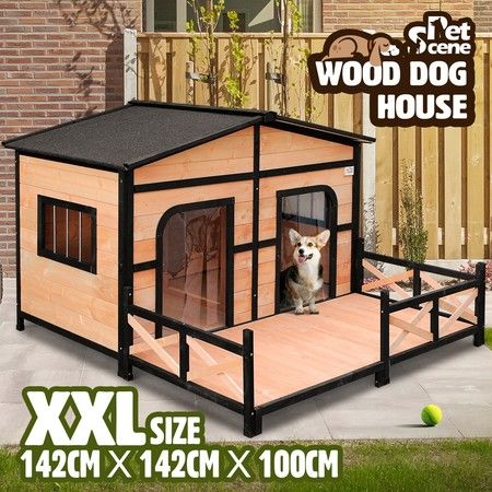 Petscene XXL Wooden Dog Kennel 2-Door Timber Pet House w/ Patio Openable Gable Roof