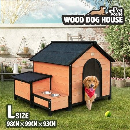 L Size Wooden Dog Kennel Timber Pet House with Storage Box Food Bowls