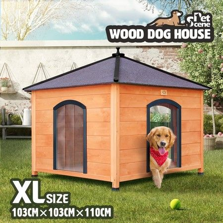 Petscene XL Square Wooden Kennel Dog House 3 Doors