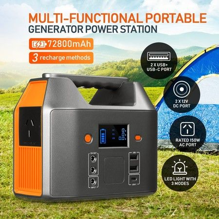 Portable 72800mAh 150W Solar Generator Power Station Battery Backup