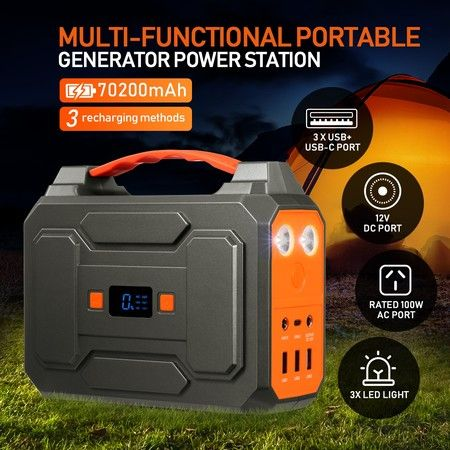 Portable 70200mAh 100W Solar Generator Power Station Battery Backup