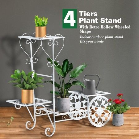 Metal Plant Stand 4 Tier Flower Pot Stand Indoor Outdoor Planter Shelf White