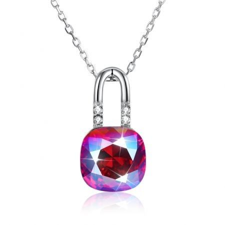 Sterling Silver Lock Crystal Pendant Necklace in Colour/Platinum Plated