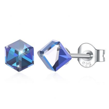 Square Stud S925 Pure Silver Earring Pale Blue/Platinum Plated