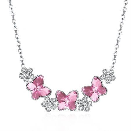 Crystal Butterfly S925 Sterling Silver Necklace Pink/Platinum Plated