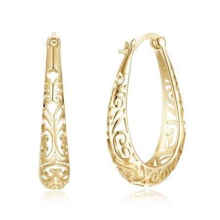 S925 Plated Hollow Out Simple Pure Silver Earrings Champagne Gold