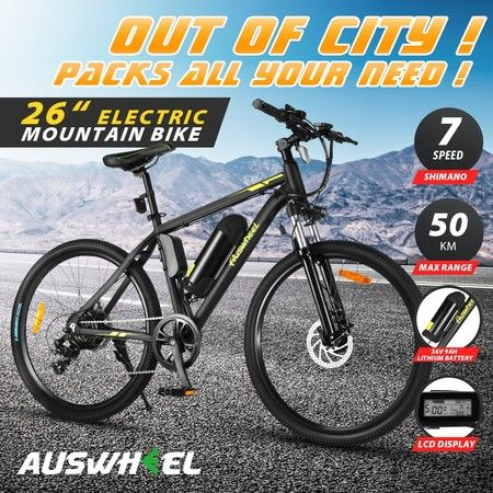 "Auswheel 26"" Electric Bike eBike Mountain Bicycle 36V 250W Brushless Motor 7 Speed Shifter"
