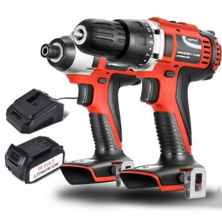 Matrix Power Tools 20V Cordless Brushed Drill + Impact Driver Combo Kit