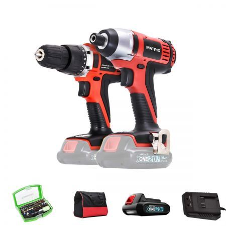 Matrix Cordless Drill + Impact Driver Bundle Power Tool - 1x 20V Battery Charger