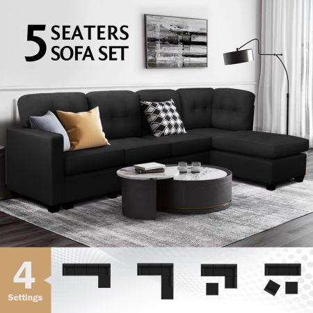 Sectional Sofa Lounge Couch Set 5 Seater Corner Sofa Linen Fabric Chair Chaise Black