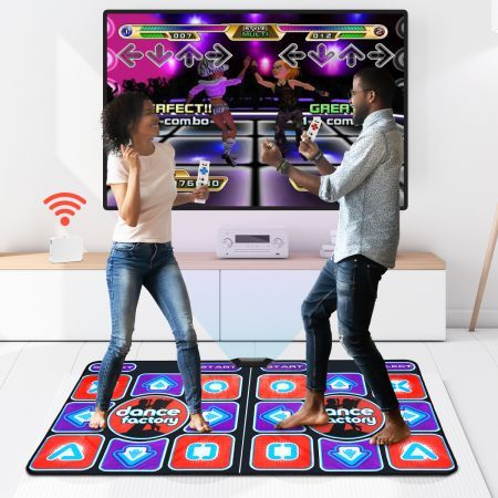 Wireless Double Dancing Mat Pad 2 Remote Controllers Fitness Couples and Family Friends Players