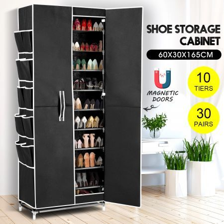 40 Pairs 10 Tier Metal Stackable Shoe Rack Cabinet Shoe Organizer Storage Wardrobe 165cm Black