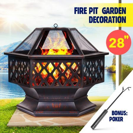 """28"""" Polygonal Fire Pit Outdoor Fireplace Brazier Portable Patio Heater 