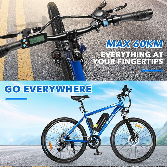 Auswheel 27.5  Electric Bike eBike Mountain Bicycle 36V 250W Brushless Motor 7 Speed Shifter