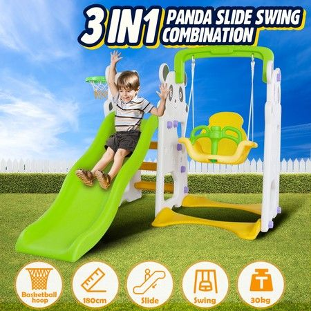 3-in-1 Kids Plastic Slide Swing Set with Basketball Hoop