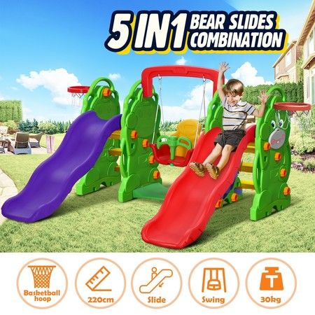 5-in-1 Plastic Kids Double Slide and Swing Set with Basketball Hoops Bear Design