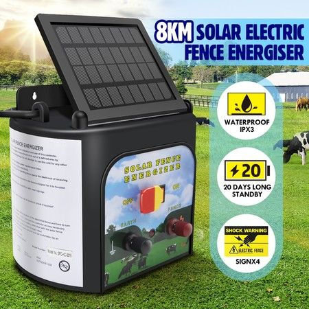 8km Solar Electric Fence Energiser 0.3 Joule Low Impedance Fence Charger Cattle Horses