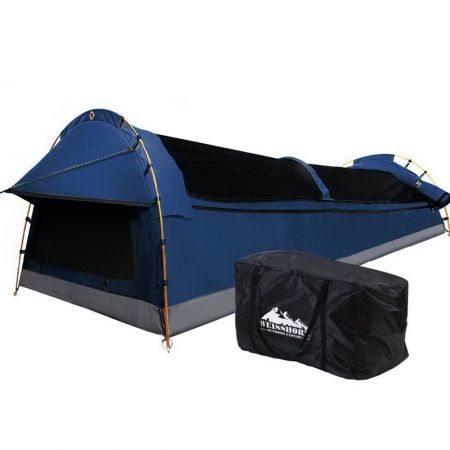 Weisshorn Double Swag Camping Swags Canvas Tent Deluxe Dark Blue Large Bag